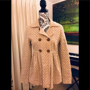 Super cute eyelet cutout tan coat.